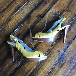 Marc Fisher Yellow Peep Toe Heels Strappy Sandals